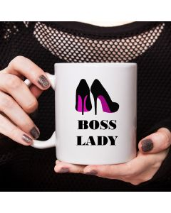 11oz Ceramic Mug With Boss Lady & Shoe Design