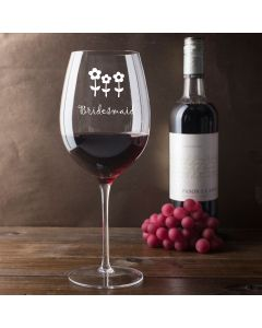 750ml Wine Glass (Holds a Whole Bottle of Wine) With Bridesmaid Flowers Design