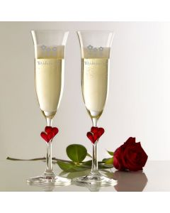 Stolzle Red Heart Pair of Champagne Flutes With Engraved Bridesmaid Flowers Design