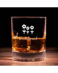 Traditional Whisky Glass With Bridesmaid Flowers Design