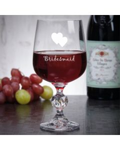"11oz ""Bohemia Crystal"" Wine Glass With Bridesmaid Hearts Design"