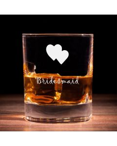 Traditional Whisky Glass With Bridesmaid Hearts Design