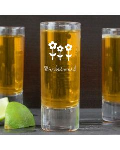 2oz Shot Glass With Bridesmaid Flowers Design