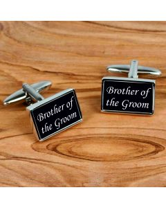 Rectangular Chrome Finish Pair of Cufflinks With Brother of the Groom Design