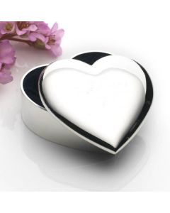Personalised Engraved Heart Shaped Silver Plated Trinket Box