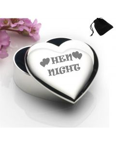 Silver Plated Heart Shaped Trinket Box With Hen Night Design and Black Gift Pouch