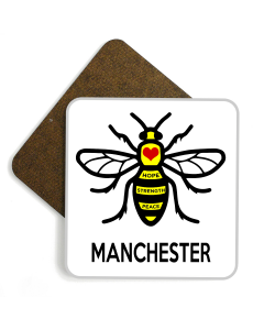 Manchester Bee Wooden Glossy Coaster