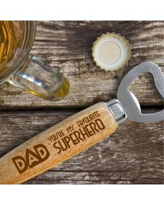 Dad, You're My Favourite Superhero Wooden Handle Bottle Opener