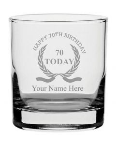 Personalised Engraved Whisky Glass With Happy 70th Birthday Wreath Design