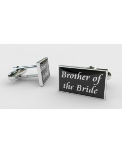 Rectangular Chrome Finish Pair of Cufflinks With Brother of the Bride Design