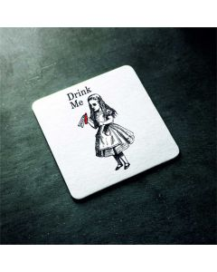 British Library Alice in Wonderland Wooden Coaster with Alice Drink Me Design