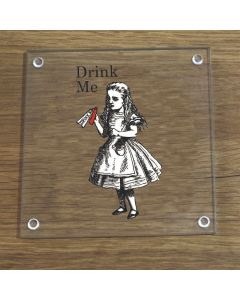 British Library Alice In Wonderland Glass Coaster With Alice Drink Me Design