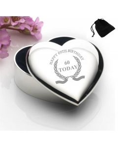 Silver Plated Heart Shaped Trinket Box With Happy 60th Birthday Wreath Design and Black Gift Pouch
