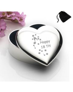 Silver Plated Heart Shaped Trinket Box With Happy 18th Birthday Keys Design and Black Gift Pouch