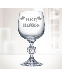 "11oz ""Bohemia Crystal"" Wine Glass With Hen Night Design"