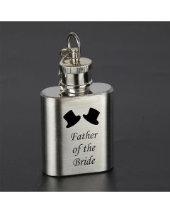 Laser Engraved 1oz Stainless Steel Hip Flask Key Ring With Father of the Bride Design