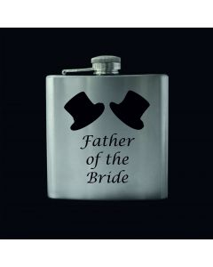 Laser Engraved 6oz Stainless Steel Hip Flask With Father of the Bride Hats Design