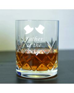 Cut Crystal 11oz Whisky Glass With Father of the Bride Design