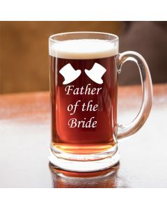 Half Pint Glass Tankard With Father of the Bride Design