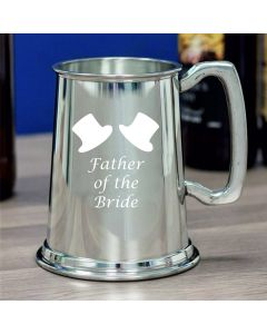 1 Pint Plain Pewter Tankard With Father of the Bride Design