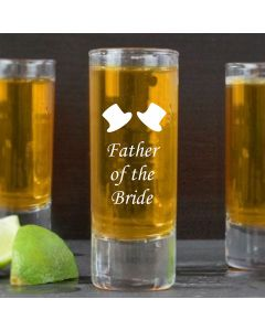 2oz Shot Glass With Father of the Bride Design