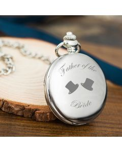 Father of The Bride Bride Hats Engraved Pocket Watch