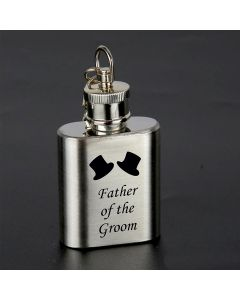Laser Engraved 1oz Stainless Steel Hip Flask Key Ring With Father of the Groom Design