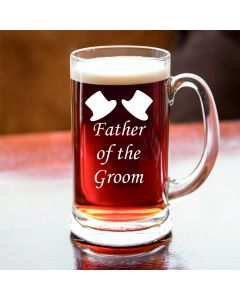 Half Pint Glass Tankard With Father of the Groom Design