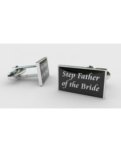 Rectangular Chrome Finish Pair of Cufflinks With Step Father of the Bride Design