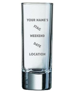 Pack of Twelve 2oz Shot Glasses With Personalised Stag Weekend Design
