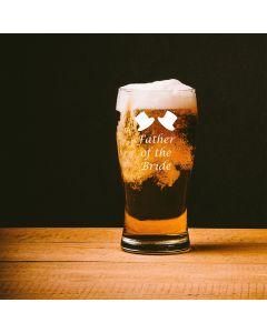 1 Pint Tulip Beer Glass With Father of the Bride Design