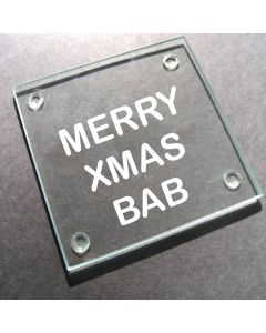 'Merry Xmas Bab' Glass Coaster