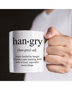 Hangry Definition Novelty Ceramic Mug, White, 11 oz