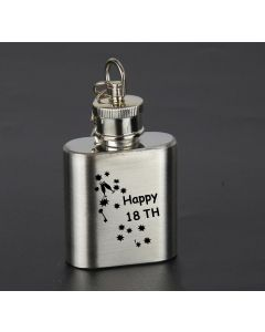 Laser Engraved 1oz Stainless Steel Hip Flask Key Ring With Happy 18th Birthday Keys Design