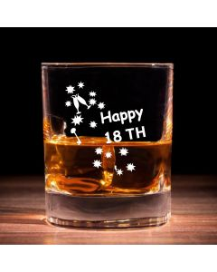 Traditional Whisky Glass With Happy 18th Birthday Keys Design