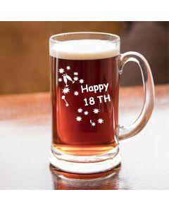 Half Pint Glass Tankard With Happy 18th Birthday Keys Design
