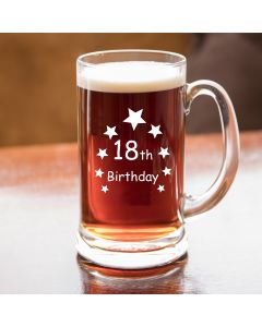Half Pint Glass Tankard With 18th Birthday Stars Design