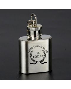 Laser Engraved 1oz Stainless Steel Hip Flask Key Ring With Happy 18th Birthday Wreath Design
