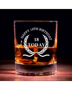 Traditional Whisky Glass With Happy 18th Birthday Wreath Design
