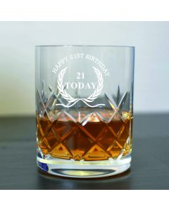 Cut Crystal 11oz Whisky Glass With Happy 21st Birthday Wreath Design