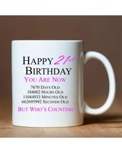 Happy 21st Birthday You are Now Days Hours Minutes Seconds Old Novelty Ceramic Mug, Pink, 11 oz