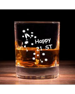 Traditional Whisky Glass With Happy 21st Birthday Keys Design