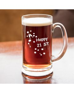 Half Pint Glass Tankard With Happy 21st Birthday Keys Design