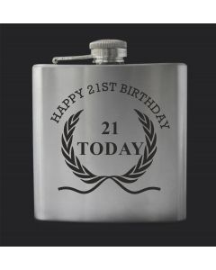 Laser Engraved 6oz Stainless Steel Hip Flask With 21st Birthday Wreath Design