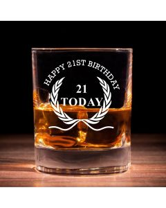 Traditional Whisky Glass With Happy 21st Birthday Wreath Design