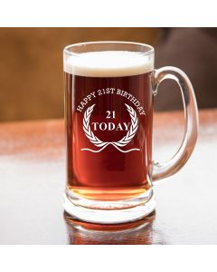 Half Pint Glass Tankard With Happy 21st Birthday Wreath Design