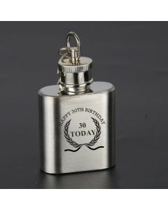 Laser Engraved 1oz Stainless Steel Hip Flask Key Ring With Happy 30th Birthday Wreath Design