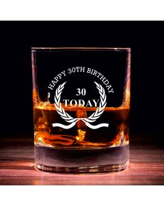 Traditional Whisky Glass With Happy 30th Birthday Wreath Design