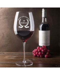 750ml Wine Glass (Holds a Whole Bottle of Wine) With Happy 30th Birthday Wreath Design