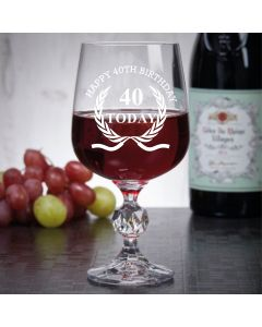 "11oz ""Bohemia Crystal"" Wine Glass With Happy 40th Birthday Wreath Design"